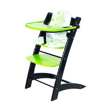 Detská kŕmiaca stolička čierno - zelená