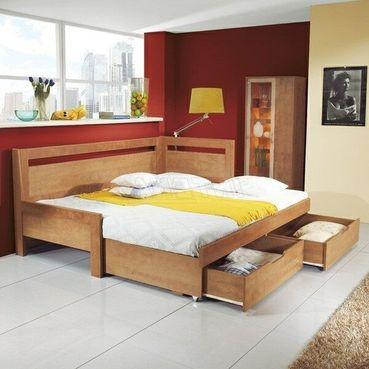 TANDEM KLASIK rozkladacia postel, 1 vysoké čelo pravé, rovné rohy